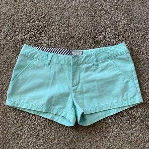Volcom Mint Green Cotton Short Shorts, Size 3